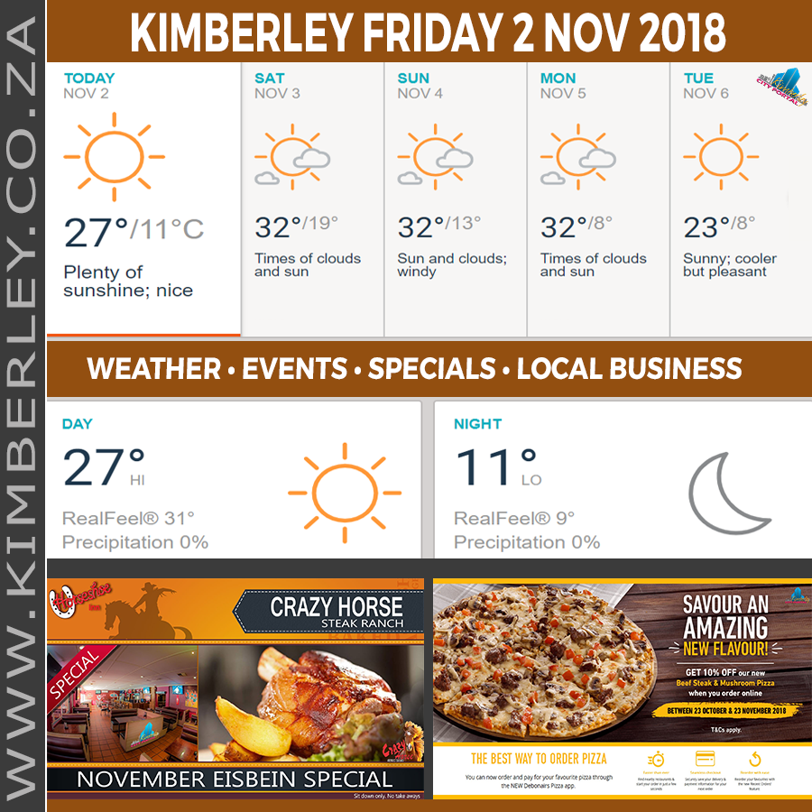 Today in Kimberley South Africa - Weather News Events 2018/11/02