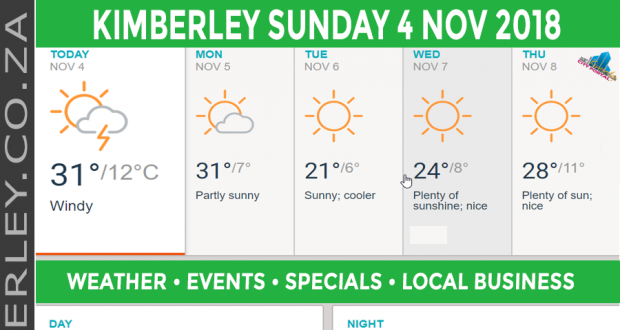 Today in Kimberley South Africa - Weather News Events 2018/11/04