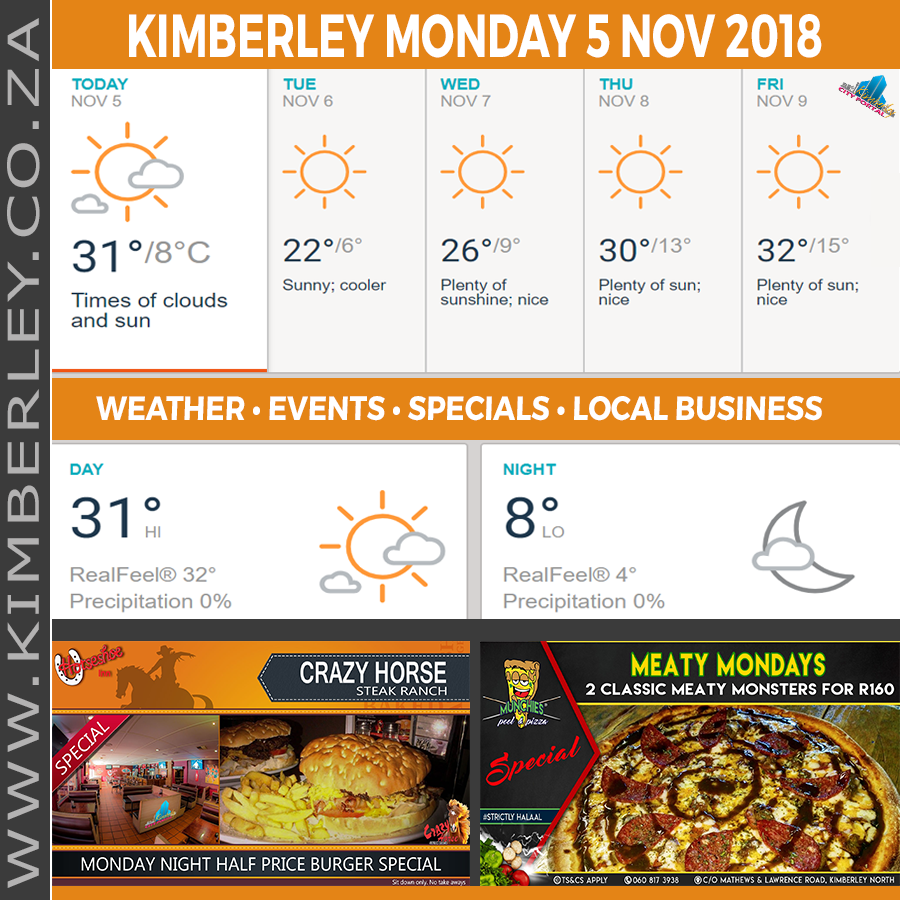 Today in Kimberley South Africa - Weather News Events 2018/11/05