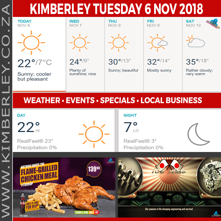 Today in Kimberley South Africa - Weather News Events 2018/11/06