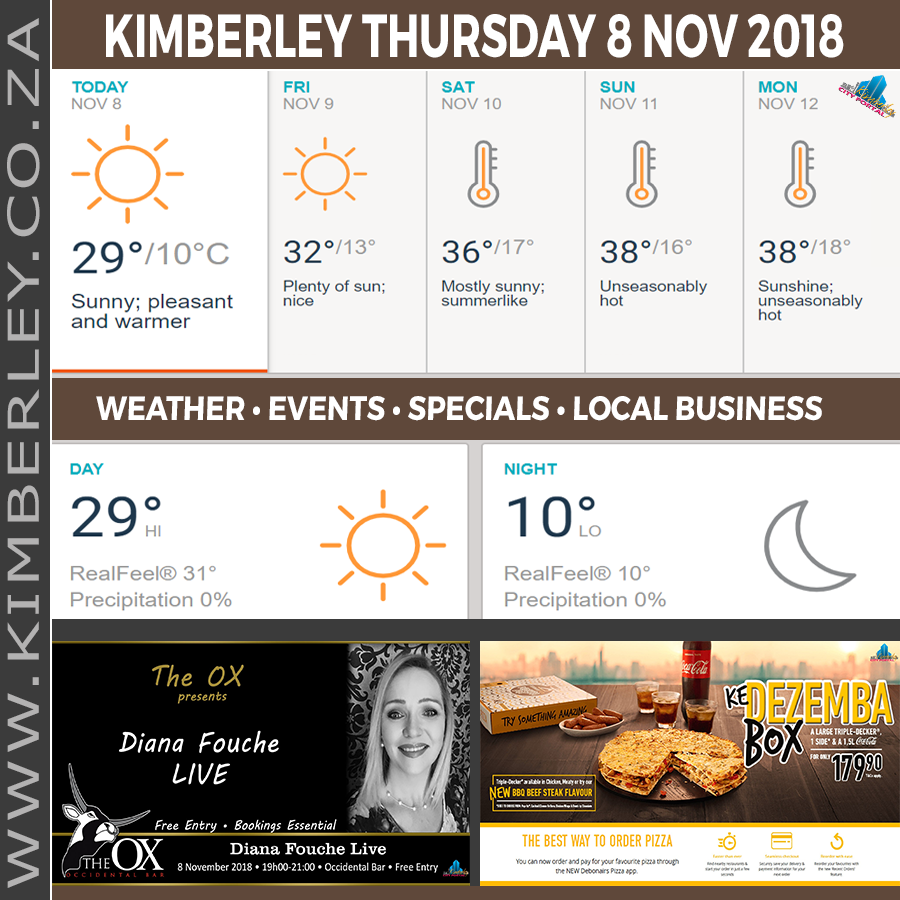 Today in Kimberley South Africa - Weather News Events 2018/11/08