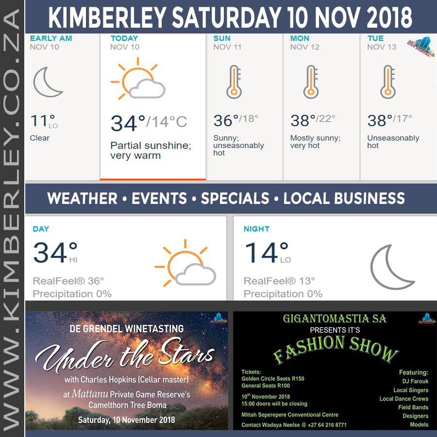 Today in Kimberley South Africa - Weather News Events 2018/11/10