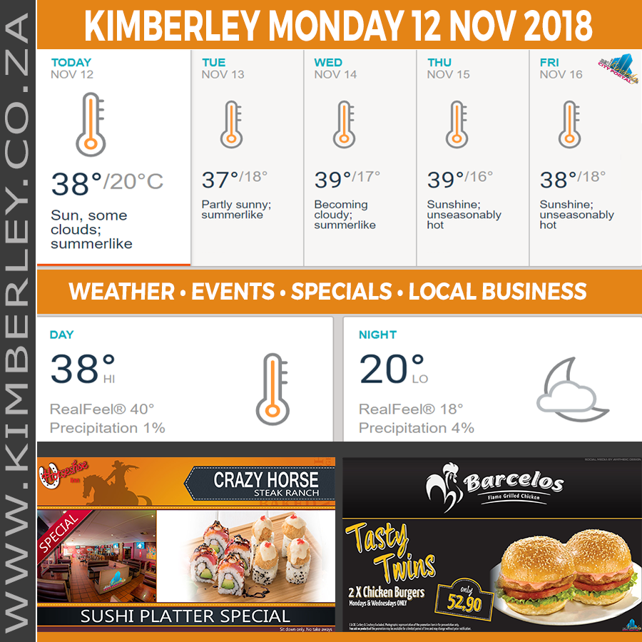Today in Kimberley South Africa - Weather News Events 2018/11/12
