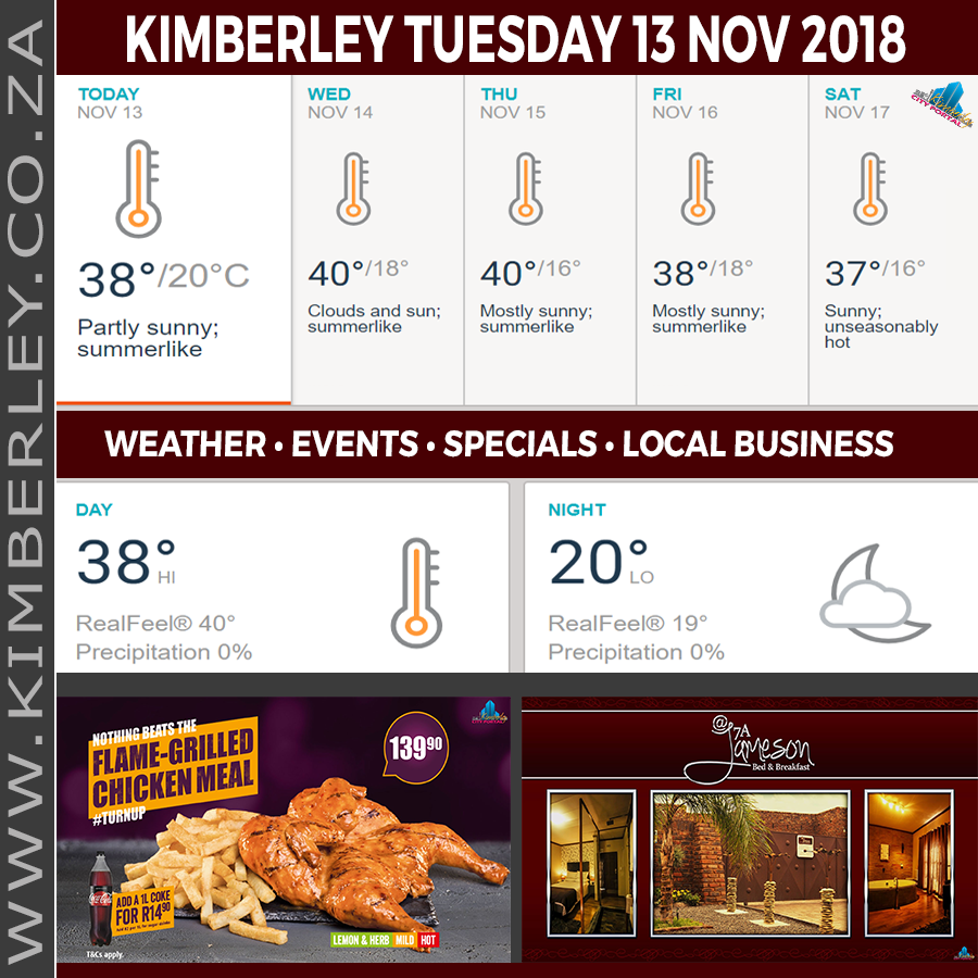 Today in Kimberley South Africa - Weather News Events 2018/11/13