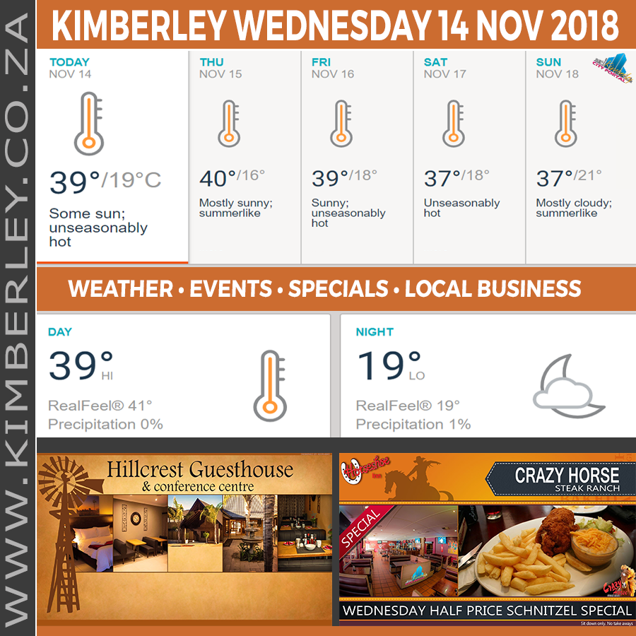 Today in Kimberley South Africa - Weather News Events 2018/11/14
