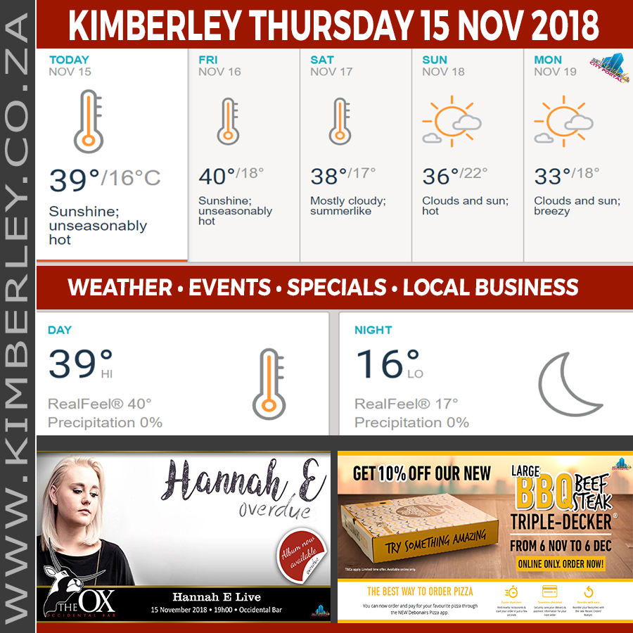 Today in Kimberley South Africa - Weather News Events 2018/11/15