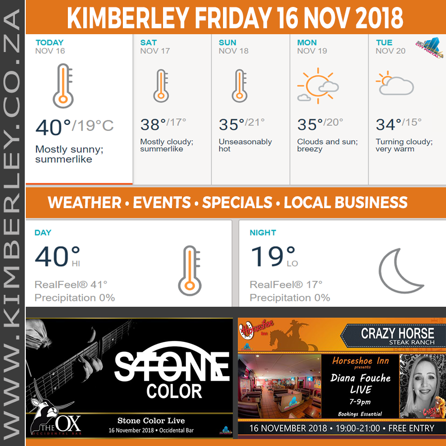Today in Kimberley South Africa - Weather News Events 2018/11/16