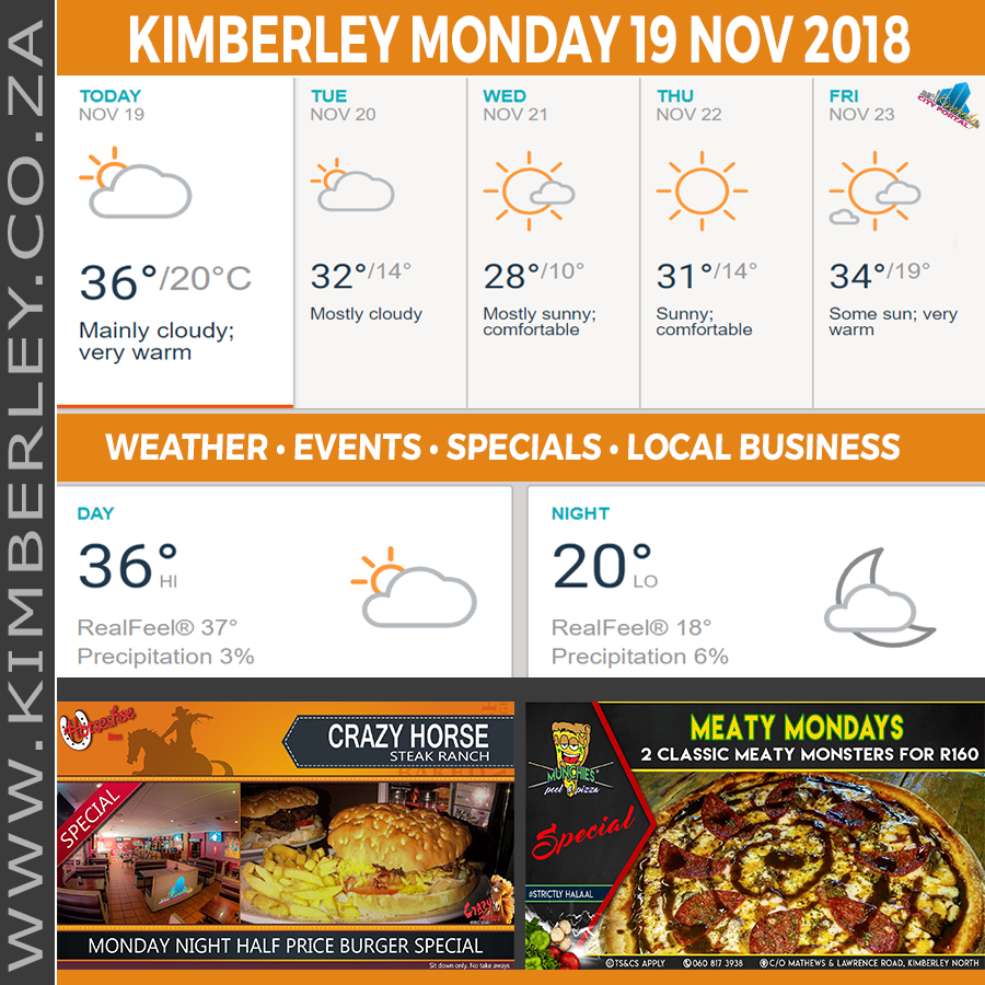 Today in Kimberley South Africa - Weather News Events 2018/11/19
