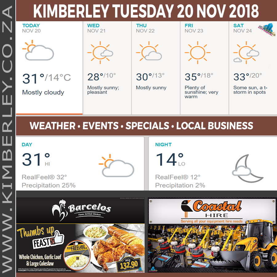 Today in Kimberley South Africa - Weather News Events 2018/11/20