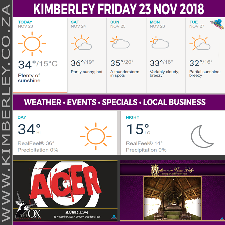 Today in Kimberley South Africa - Weather News Events 2018/11/23