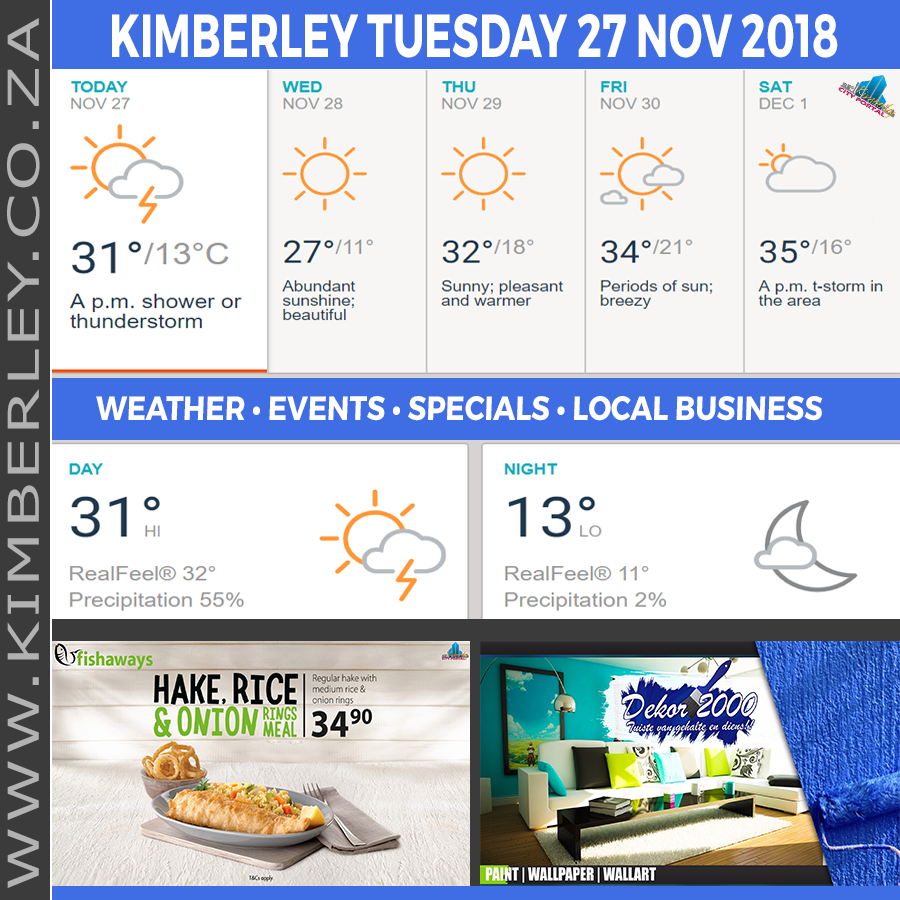 Today in Kimberley South Africa - Weather News Events 2018/11/27