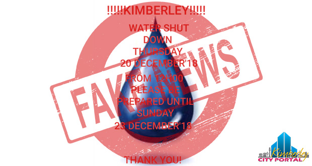 Kimberley Water Shutdown Fake News