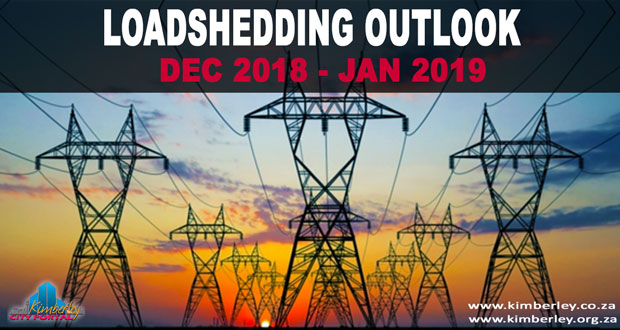 Eskom Loadshedding outlook December 2018 to January 2019