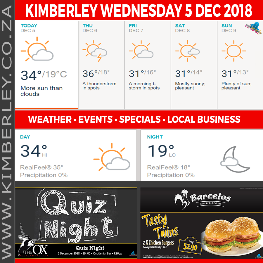 Today in Kimberley South Africa - Weather News Events 2018/12/05