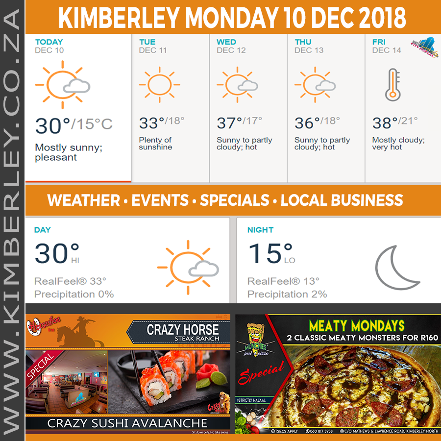 Today in Kimberley South Africa - Weather News Events 2018/12/10