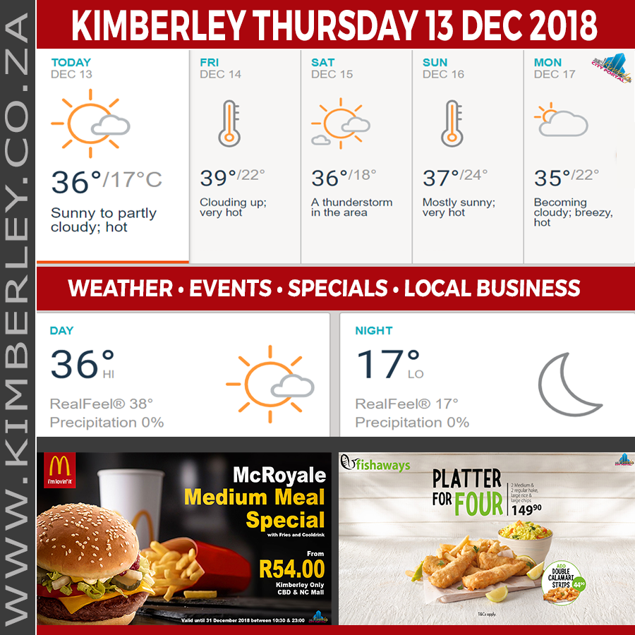 Today in Kimberley South Africa - Weather News Events 2018/12/13
