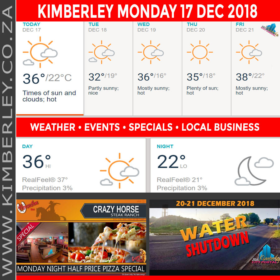 Today in Kimberley South Africa - Weather News Events 2018/12/17
