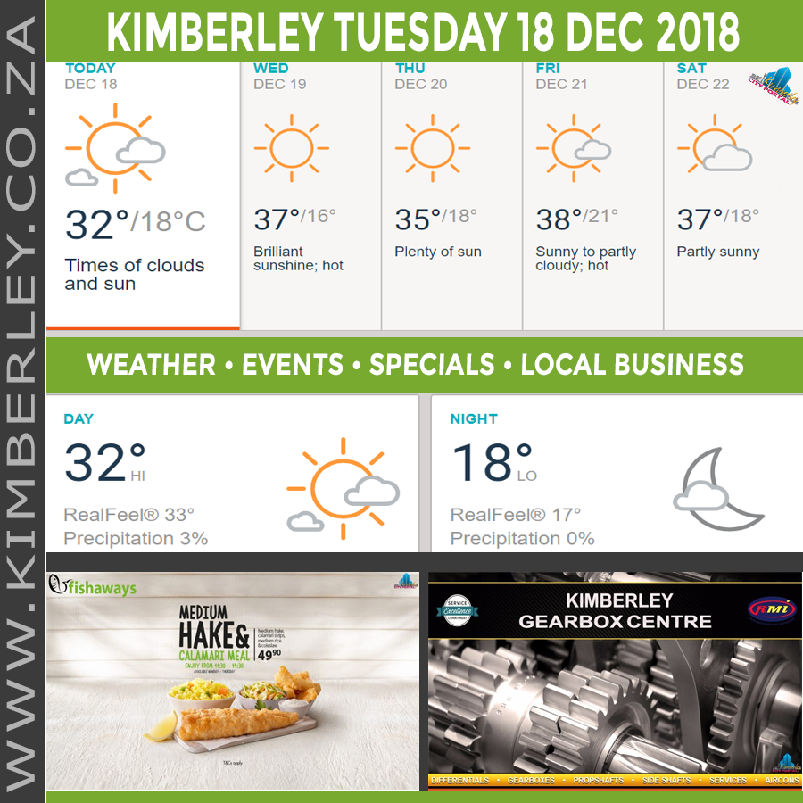 oday in Kimberley South Africa - Weather News Events 2018/12/18