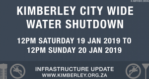 Kimberley Sol Plaatje Weekend Water Shutdown and Water Restrictions 2019