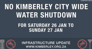 Kimberley Sol Plaatje Weekend water shutdown suspended