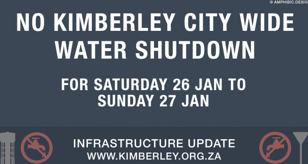 Kimberley Sol Plaatje Weekend water shutdown suspended