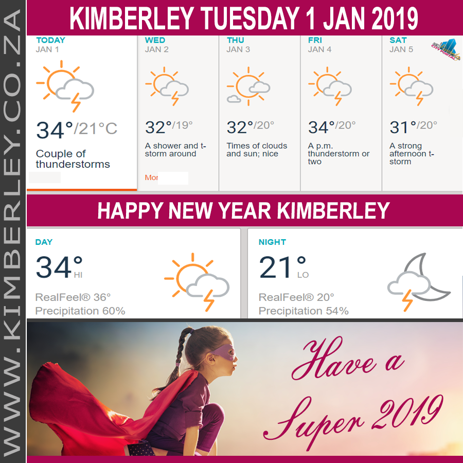 Today in Kimberley South Africa - Weather News Events 2019/01/01