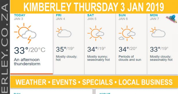 Today in Kimberley South Africa - Weather News Events 2019/01/03