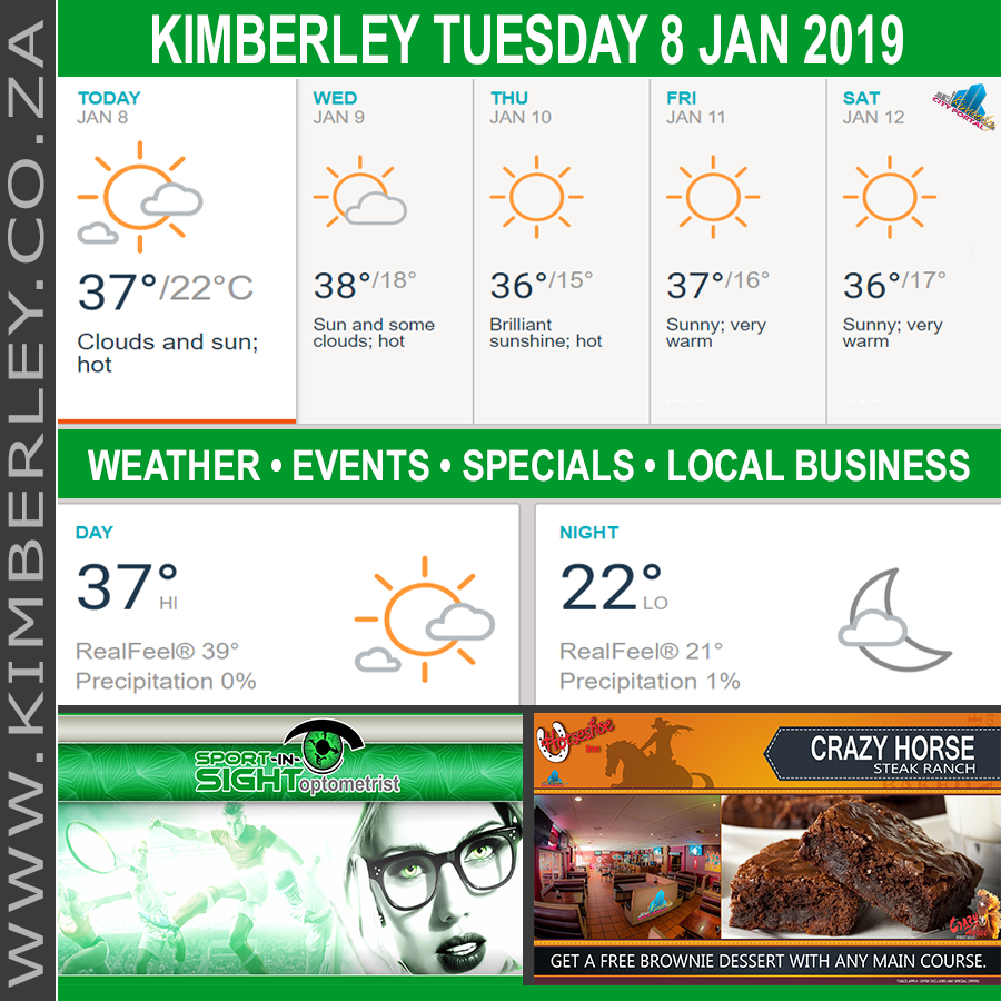 Today in Kimberley South Africa - Weather News Events 2019/01/08