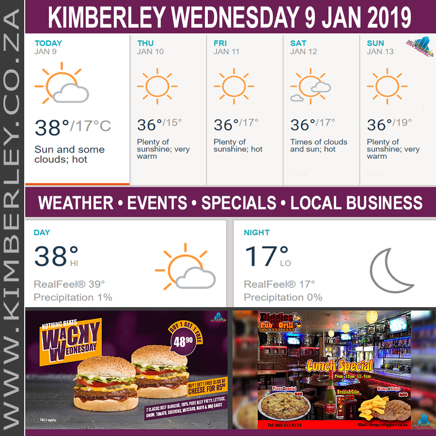 Today in Kimberley South Africa - Weather News Events 2019/01/09