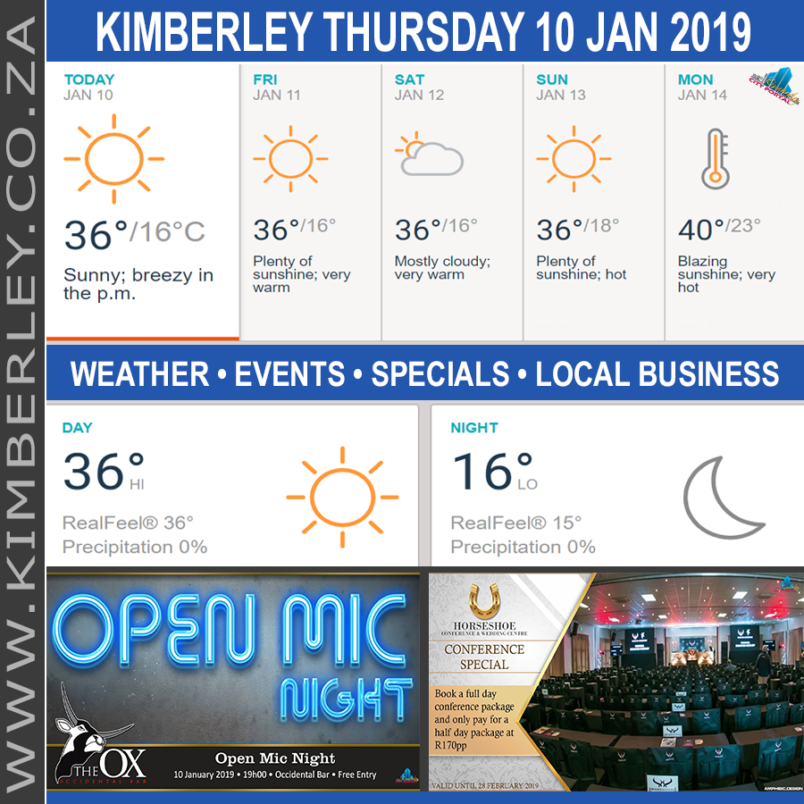 Today in Kimberley South Africa - Weather News Events 2019/01/10