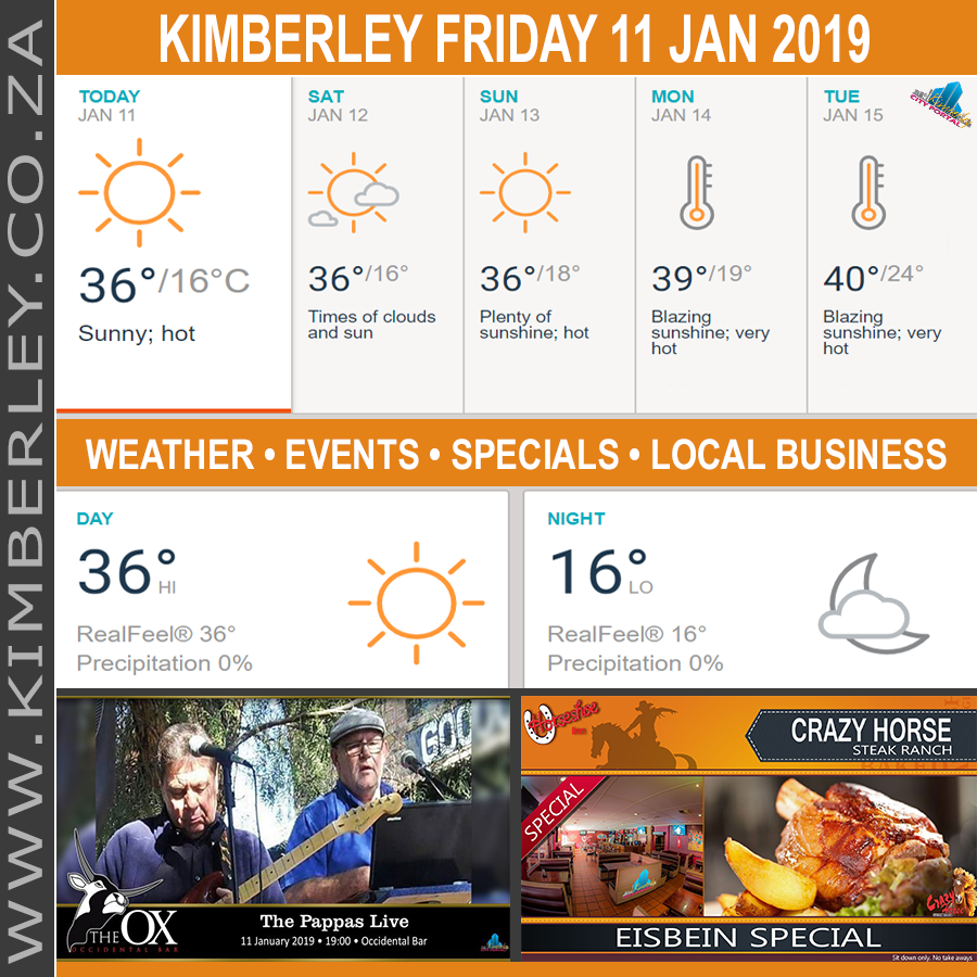 Today in Kimberley South Africa - Weather News Events 2019/01/11