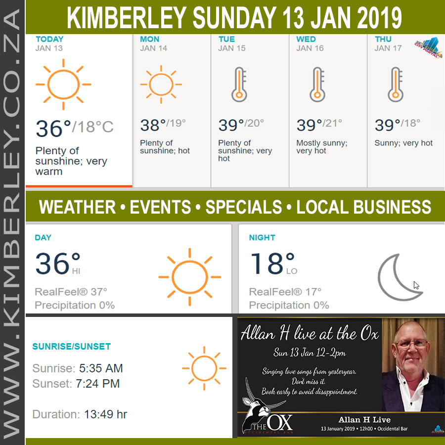 Today in Kimberley South Africa - Weather News Events 2019/01/13