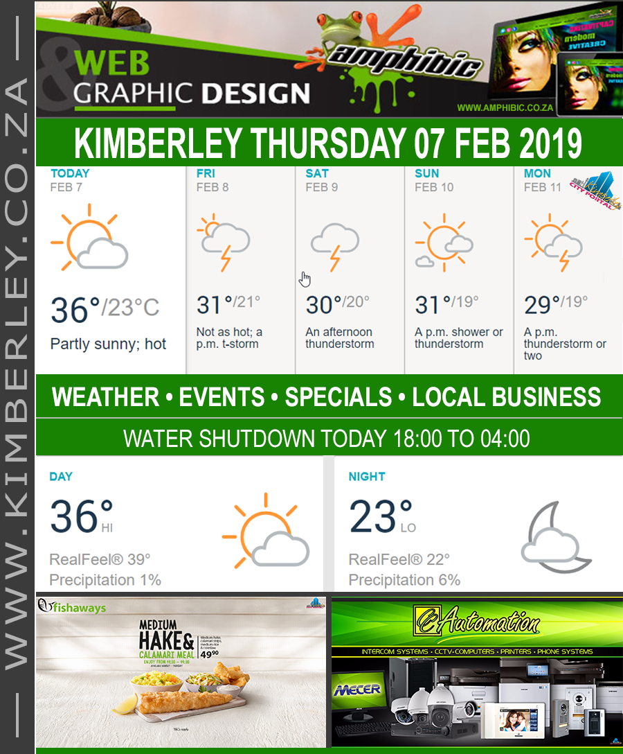 Today in Kimberley South Africa - Weather News Events 2019/02/07