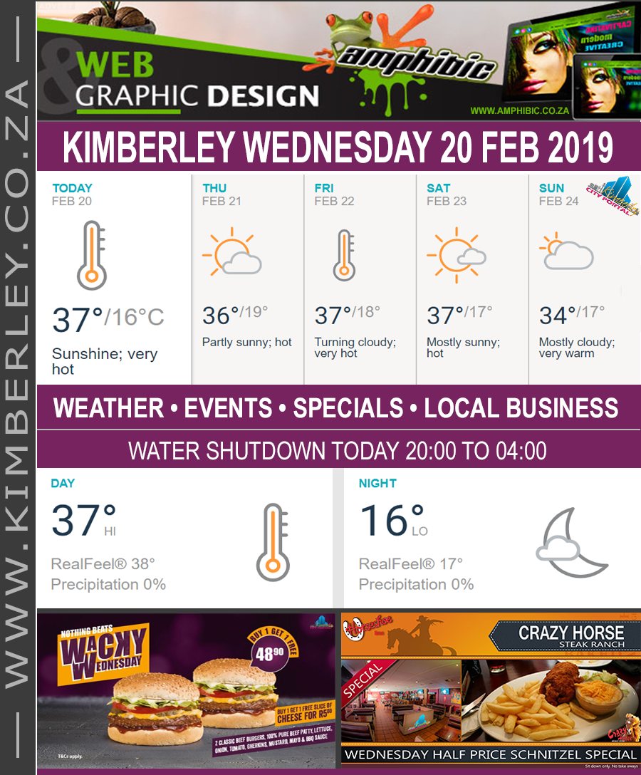 Today in Kimberley South Africa - Weather News Events 2019/02/20
