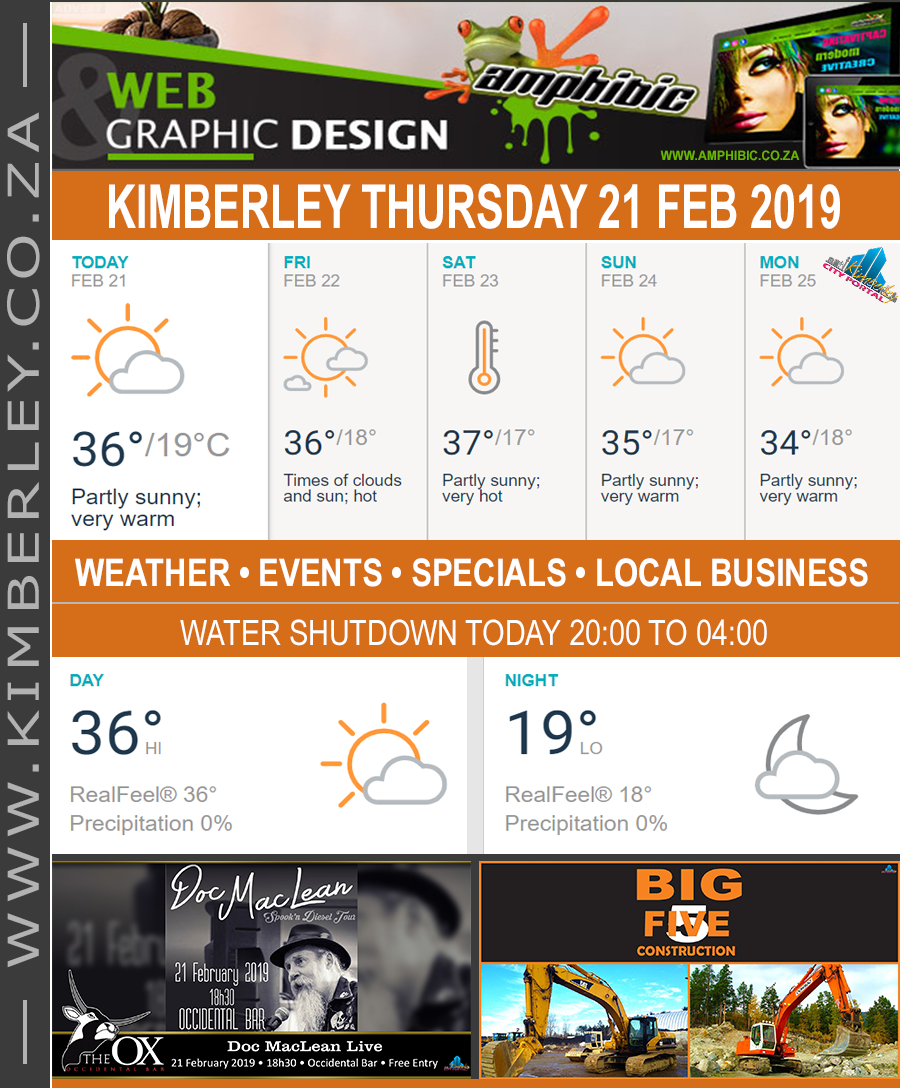 Today in Kimberley South Africa - Weather News Events 2019/02/21
