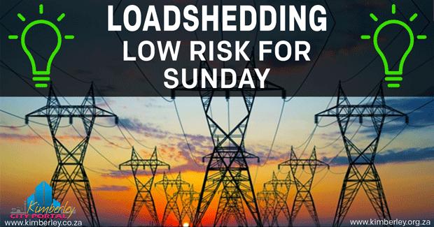 Loadshedding - Low risk for Sunday - Kimberley Sol Plaatje