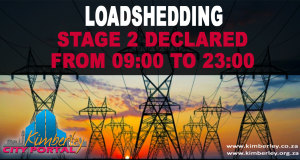 Loadshedding Stage 2 from 09: 00 to 23:00 - Kimberley Sol Platje