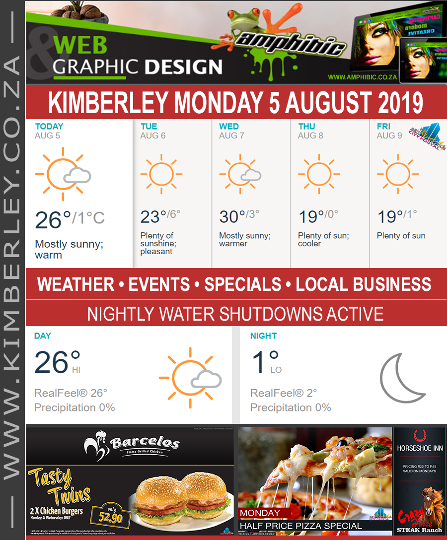 Today in Kimberley South Africa - Weather News Events 2019/08/05