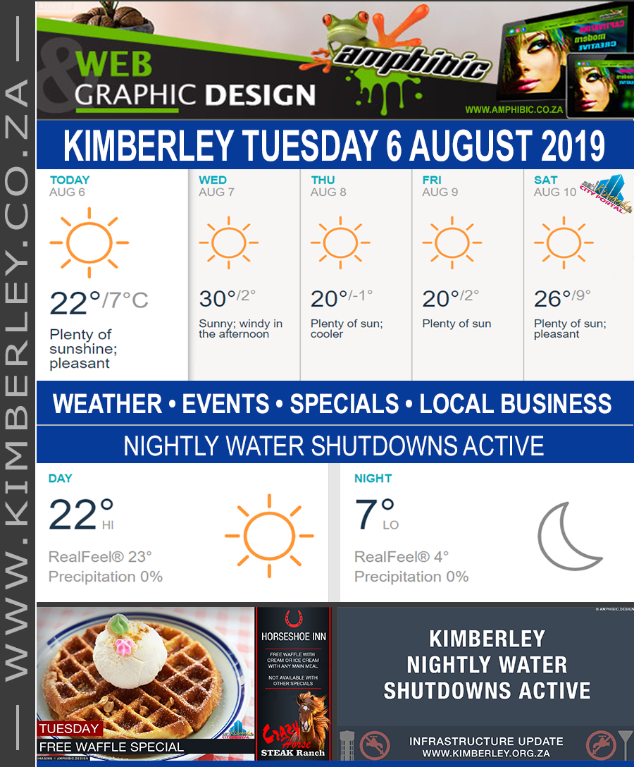 Today in Kimberley South Africa - Weather News Events 2019/08/06