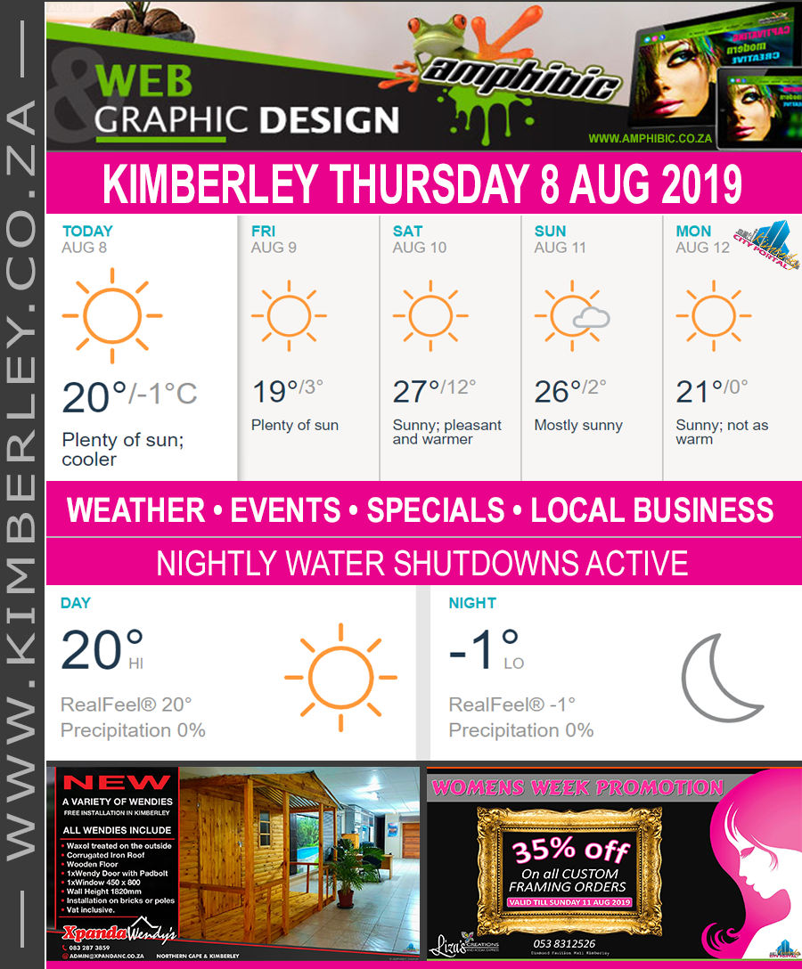Today in Kimberley South Africa - Weather News Events 2019/08/08