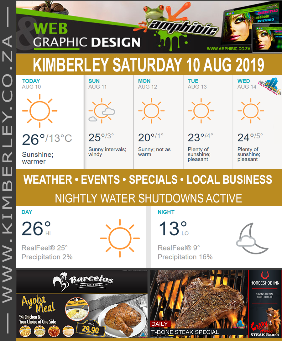 Today in Kimberley South Africa - Weather News Events 2019/08/10