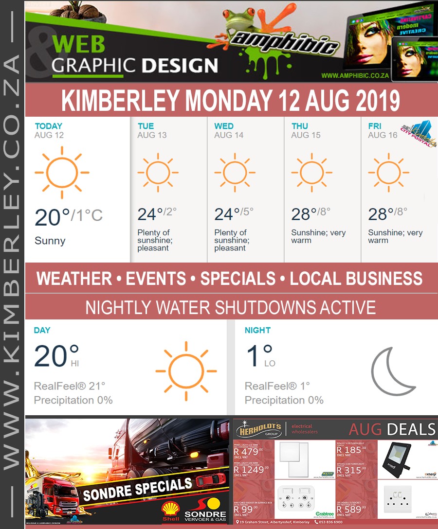 Today in Kimberley South Africa - Weather News Events 2019/08/12