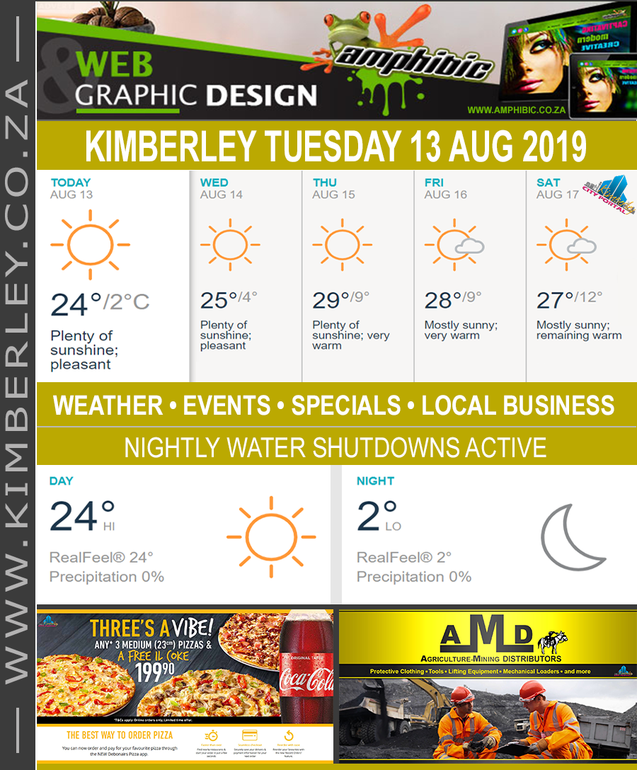 Today in Kimberley South Africa - Weather News Events 2019/08/13