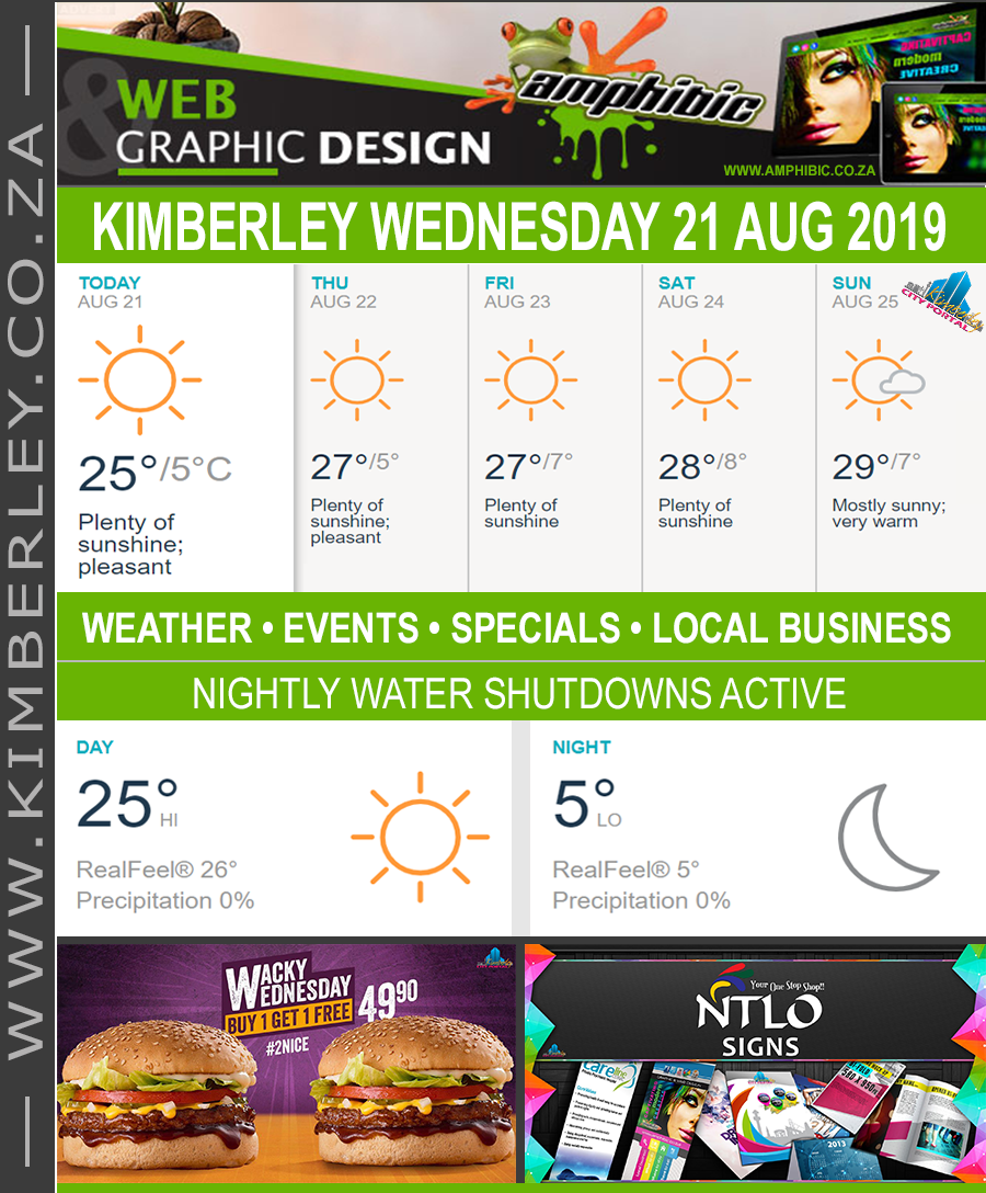 Today in Kimberley South Africa - Weather News Events 2019/08/21