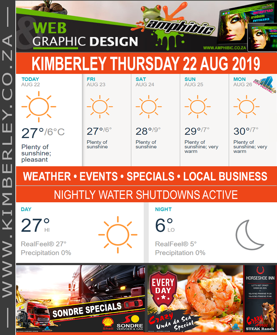 Today in Kimberley South Africa - Weather News Events 2019/08/22