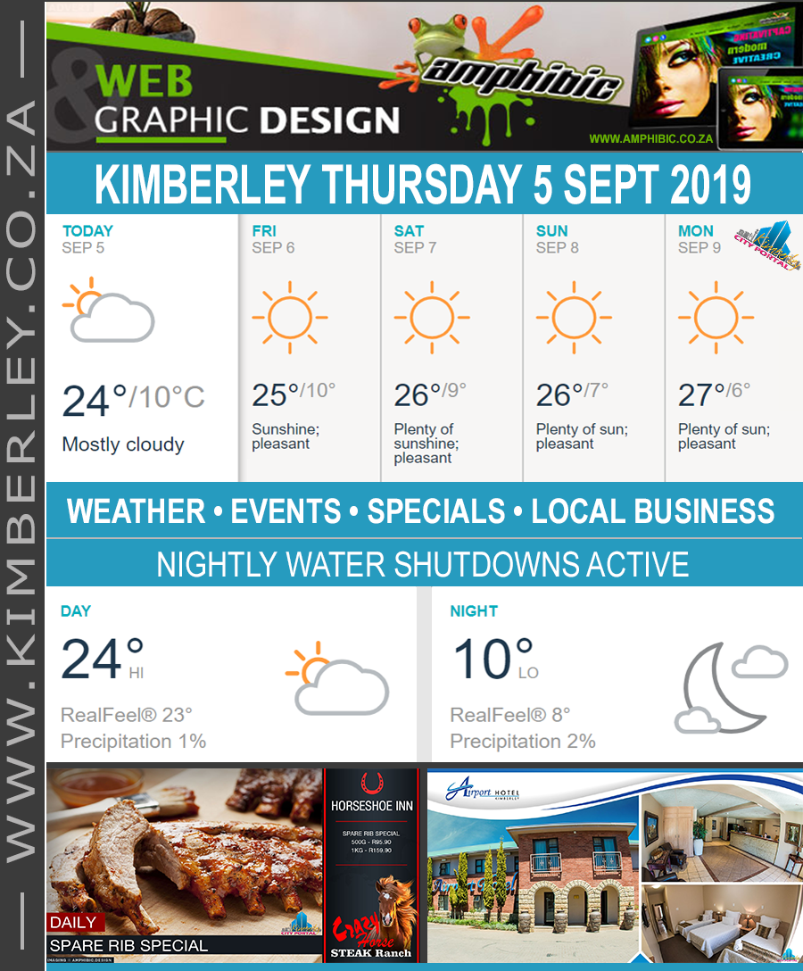 Today in Kimberley South Africa - Weather News Events 2019/09/05