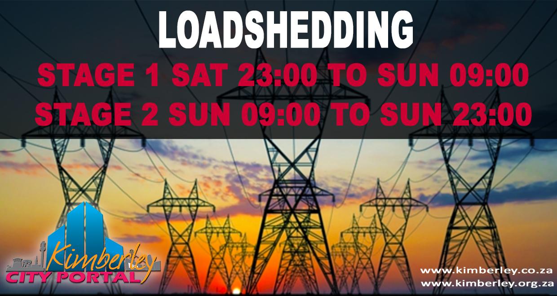 Loadshedding Stage 1 SAT 23:00 to SUN 09:00
