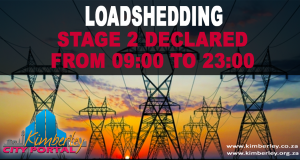 Stage 2 Loadshedding declared from 09:00 to 23:00