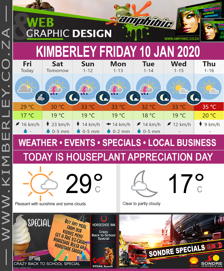 Today in Kimberley South Africa - Weather News Events 2020/01/10