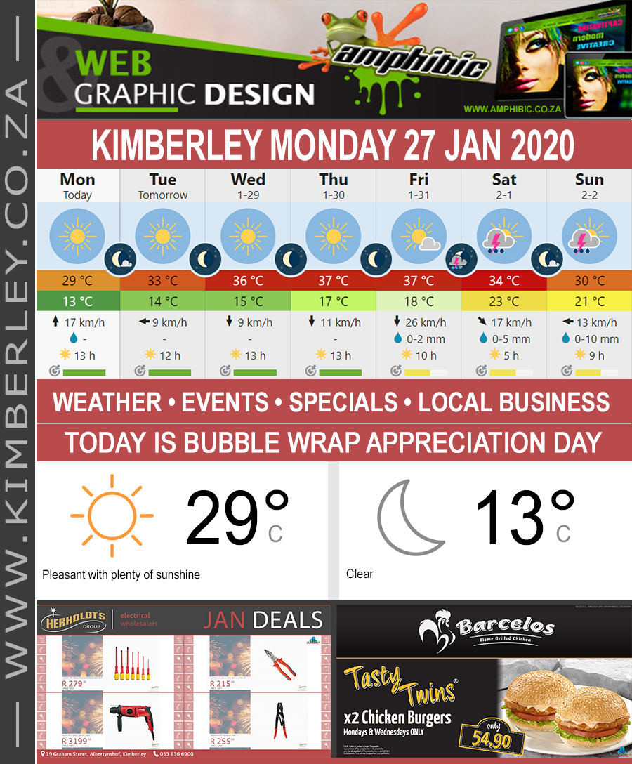Today in Kimberley South Africa - Weather News Events 2020/01/27